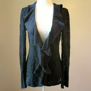Free People Black Lace Cardigan Jacket Size 10